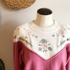 Vintage Dana Scott Embroidered Floral Sweater